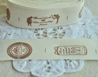Cotton Ribbon 25mm(1'') x 5 Yards Sewing Trim Sewing Tape Label - Brown Girl Boy Round Shoe Crown Y223