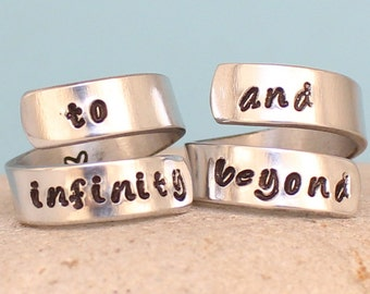 To Infinity and Beyond Rings - Personalized Couples rings. Custom rings. Couple Ring.. Hand Stamped, Aluminum Rings.. Sterling silver Rings