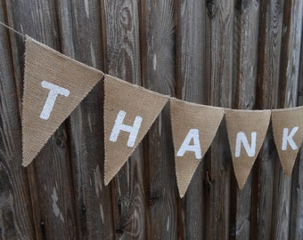 Thank You Banner Thank You Bunting Thank You Garland Wedding Thank You Card Photo Prop Rustic Wedding Thank You Sign Wedding Garland