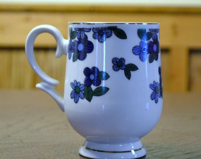 Vintage Footed Cup Mug Royalton China Translucent Porcelain Fine China Blue Flowers Replacement Panchosporch