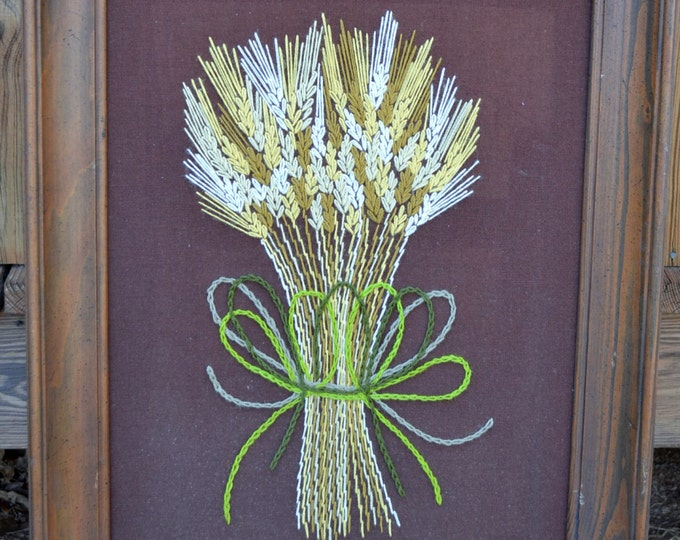 Retro Crewel Embroidery Wheat Bouquet Large Size Wooden Frame Brown PanchosPorch