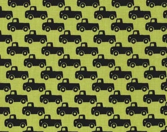 Tiny Trucks in Lime  from Michael Miller Citron Gray Collection - Michael Miller Fabrics Quilt or Craft Fabric - Fat Quarter