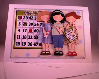 Handmade  Girls Playing Bingo Blank or Any Occasion Greetings Card, 3D