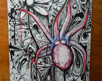abstract octopus.  mixed media. watercolor and ink. I <3 inkin'!