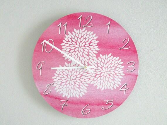 Pink Wall Clock Floral Wall Clock Modern Girly Wall Decor