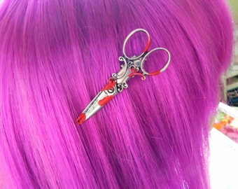 Bloody Scissor Hair Clip- Rockabilly Psychobilly Hair Dresser Hair Stylist Sweather Clip Apron Clip Accessories