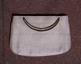 White Summer Clutch Woven Gold Handle