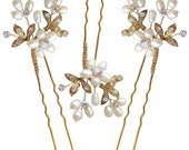 Antique Gold Ivory Freshwater Pearl  Diamante Wedding Hair Pins