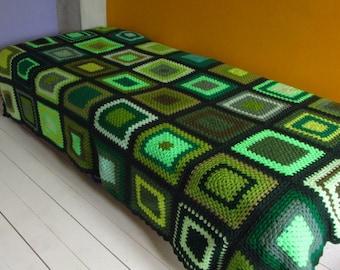Bed Throw Twin Blanket Single Bedspread Green Blanket Large Blanket Crochet Bedspread