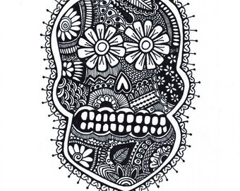 Sugar Skull 8.5x11 ink drawing, card-stock print