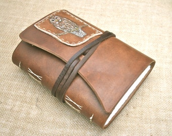 Handmade Owl Leather wrap around Journal with tie closure 192 pages creamy heavy weight drawing paper