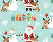 Half Yard Santa's Little Deer - Santa and Friends in Turquoise - Cotton Quilt Fabric - Christmas Fabric from Benartex (W1809)