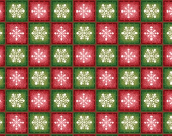 SALE!! One Yard Winter Wishes - Snowflake Check in Red and Green Cotton Quilt Fabric - Michele D'Amore - Benartex Fabrics (W696)