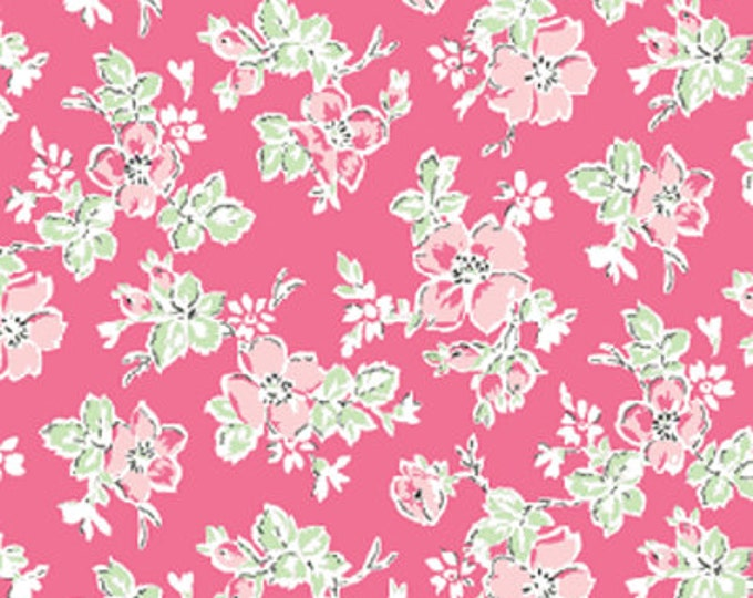 """30"""" REMNANT Sweet Shoppe (Calicos Candies) - Little Flower in Pink - Cotton Quilt Fabric - by Michele D'Amore for Benartex Fabrics (W1528)"""