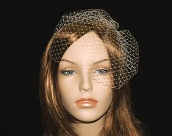 Mini Bridal Birdcage Veil, Ready to Ship, Modern Retro Bird Cage Veil, Short Blusher, Ivory, White, Black, Blush, Pink, Champagne, Navy Blue