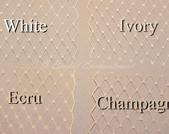 Birdcage Veil Fabric Sample, French Netting Color Swatch White, Ivory, Champagne