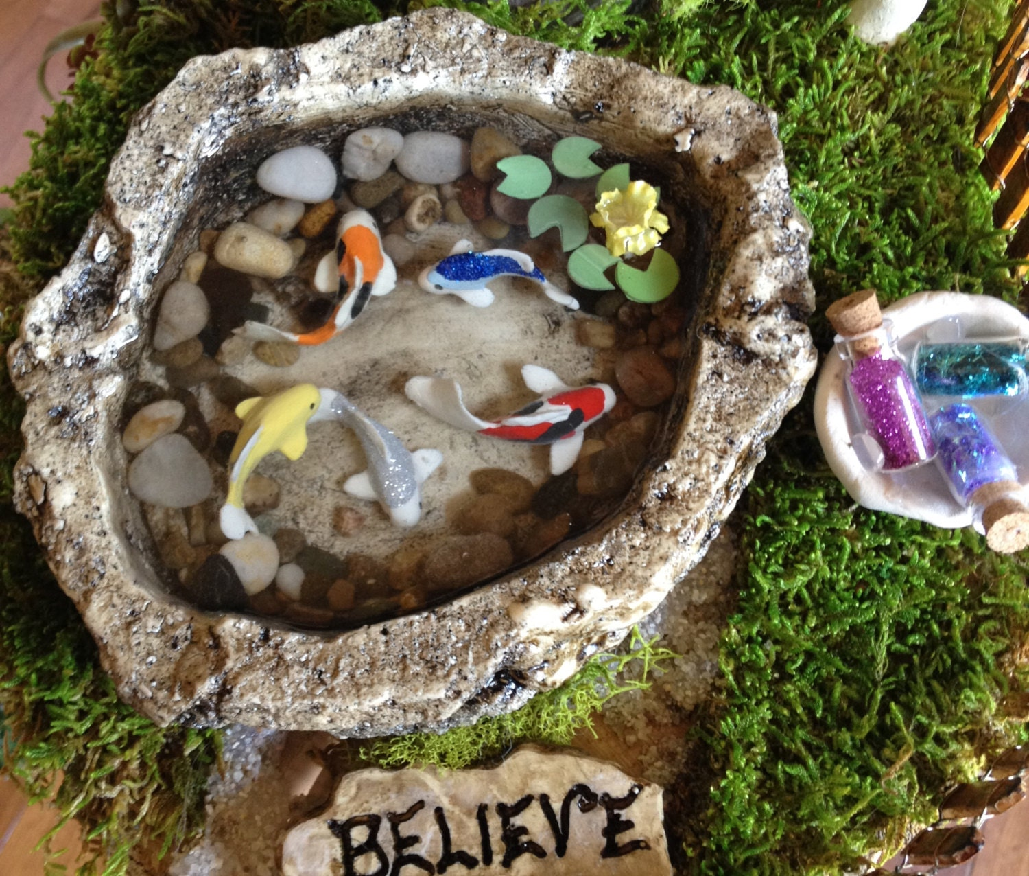 Miniature koi pond d fairy garden accessory by for Miniature fish pond