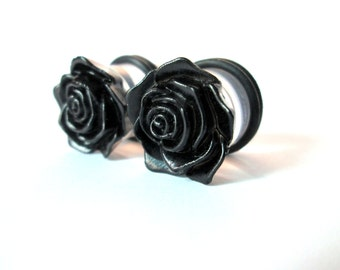 Black Rose Flower Plugs - Available in 00g, 7/16 in, 1/2 in, and 9/16 in.