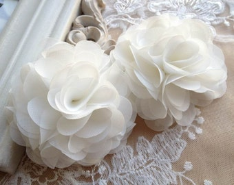 White Fabric Flowers 3D Rosette Appliques for Bag Shoe Dress Accessories Bridal DIY Supplies