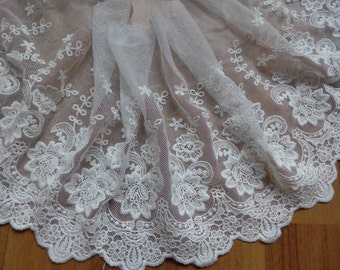 """Beautiful White Embroidered Mesh Lace Fabric Trim 7.48"""" wide Wedding Dress Bridal Gown Supplies One Yard"""