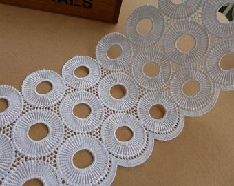 White Venice Lace, Polka Dots Lace Trim, Retro Round Trim, Bridal Sash Wedding Gown Lace Supply