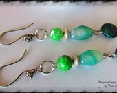 GREEN earrings-Green Dangle Earrings-Green glass and gemstone-Sterling Silver