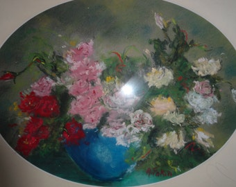 Antique pastel painting, Original signed piece