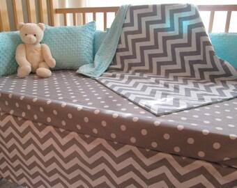 Baby Boy Crib Bedding - Minky Blanket, Crib Skirt & Sheet - Pale Aqua Grey