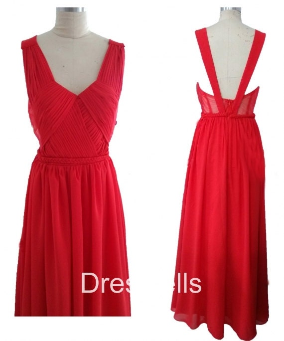 Red Bridesmaid Dress - Long Open Back Bridesmaid Dress / Long Bridesmaid Dress / Red Bridesmaid Dresses / Red Prom Dress