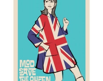Mod Save The Queen Union Jack Wall Decal #42282