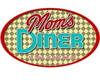 Moms Diner Sit Down Funny Floor Decal #48086
