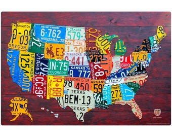USA State License Plate Map Wall Decal #48386