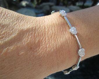 Vintage Heart Sterling Link Bracelet