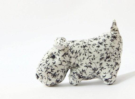 Toy  quot Black and white Hippopotamus quot  - stuffed animalHippopotamus Black And White