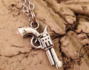 Pistol Necklace Country Gun Necklace country girl necklace revolver silver pistol necklace gunpowder necklace bullet pistol cowgirl necklace