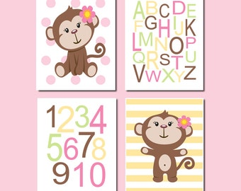 Baby Girl Nursery MONKEY Decor Art Alphabet Numbers ABC 123 Dots Pink Yellow Set of 4 Prints Artwork Decor Wall Art Picture Monkey Playroom