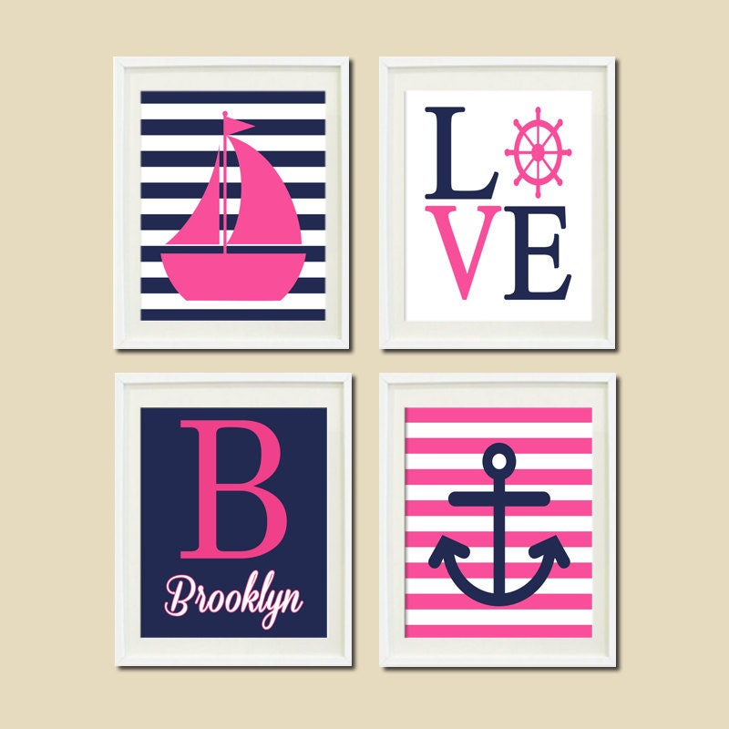 pink navy nautical nursery wall art sailboat by lovelyfacedesigns. Black Bedroom Furniture Sets. Home Design Ideas