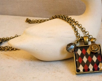 Square bezel pendant necklace Czech glass bronze charm jewelry