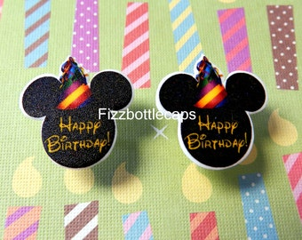 Adorable Happy Birthday Inspired Mouse Head Ears Nickel Free Post Earrings
