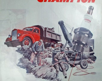 Vintage print ad from 1946 for Champion Spark Plugs