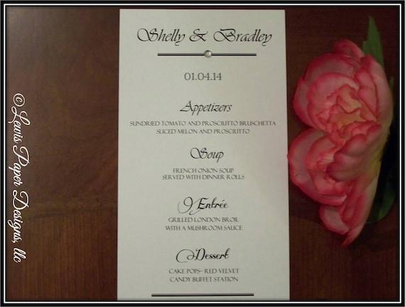 Menu Cards Wedding Reception Menu Cards Traditional Menu