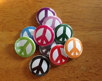 Colorful Peace Sign Pinback Button Set of 10 Peace, Peace Sign, Peace and Love, Peace Prints, Hippie