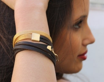 Womens Leather Wrap Bracelet with gold bracelet, 18k gold leather wrap bracelet, brown leather wrap, leather and gold trendy jewelry
