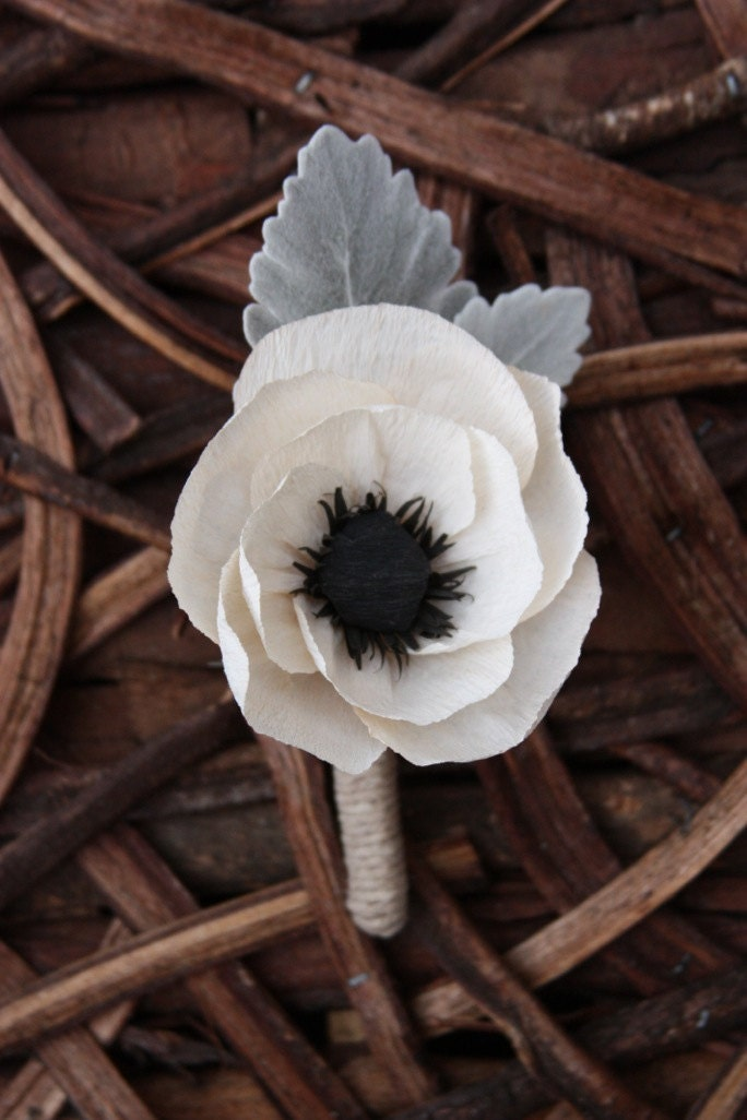Wedding Crepe paper Anemone boutonniere with dusty miller