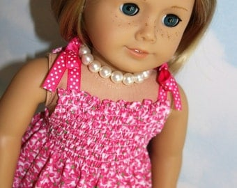 18 Inch Doll (like American Girl) Pink Floral Shirred Bodice Sundress with Ribbon Ties