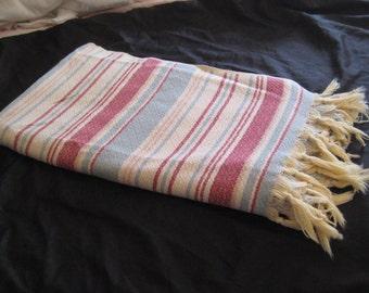Rasberry blue cotton lap cover, striped blanket, lap throw, small blanket, lap blanket, summer blanket