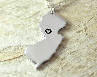 New jersey Necklace alloy 925 sterling silver necklace heart necklace Pendant State Necklace State Charm Map necklace Map Jewelry