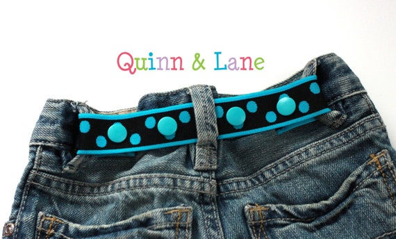 Toddler Belt Snap Elastic Baby Cinch Belt - Bright Teal Dots on Black