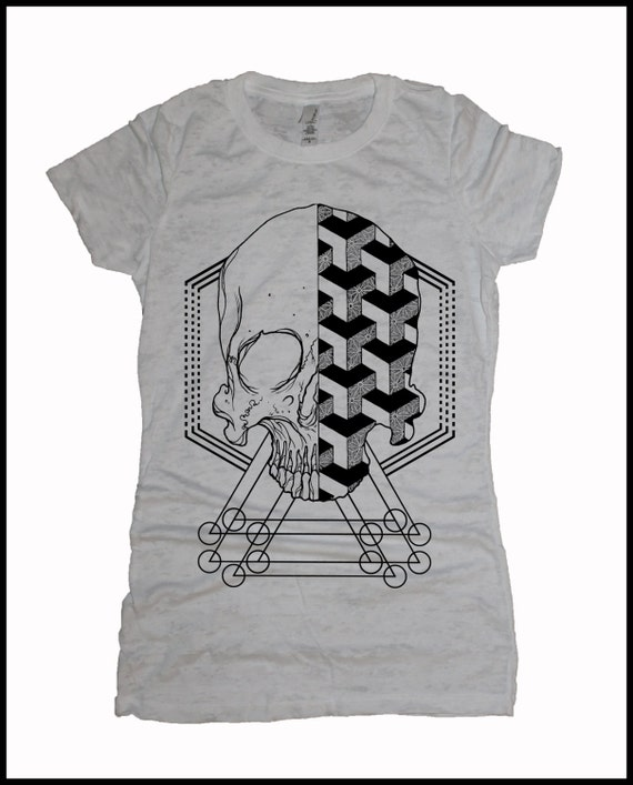 Women's Geometric Skull T-shirt Sacred Geometry Dotwork