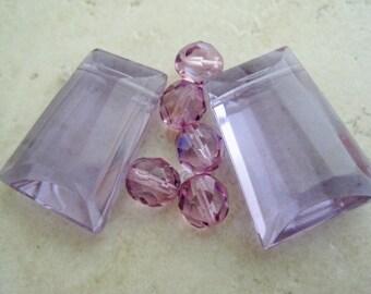 Lilac Trapazoid Pendant Gemstones Beads